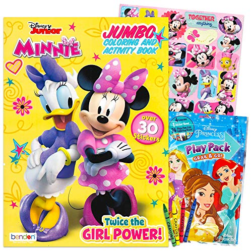 minnie mouse books for a 4 year olds Minnie Mouse Coloring and Activity Book Set - 1 Jumbo Coloring Book, 25 Stickers, 4 Crayons and Additional Mini Coloring Book