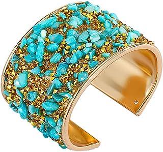 BMBN Armband, Multicolor Sieraden Verpletterd Steen Brede Bangle Overdreven Boheemse Grote Bangle Metalen Retro Armband Ve...