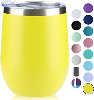 MUCHENG 12 oz Stemless Wine Glass Tumbler with Lid Stainless Steel Double Wall Vacuum Insulated Travel Cup (1-Pack Gift Box,Yellow)