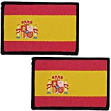 2 x Parches Bordados Bandera España con Colores Oficiales - Escudo bordado - Parches Moteros Bordados - Parches Militares - 75 x 50 mm