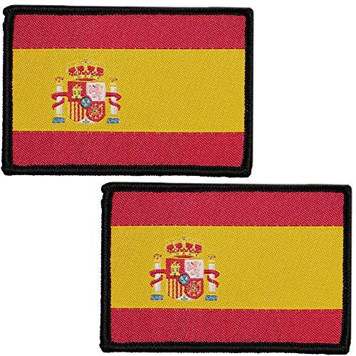 2 x Parches Bordados Bandera España con Colores Oficiales - Escudo bordado - Parches Moteros Bordados - Parches Militares - 75 x 50 mm