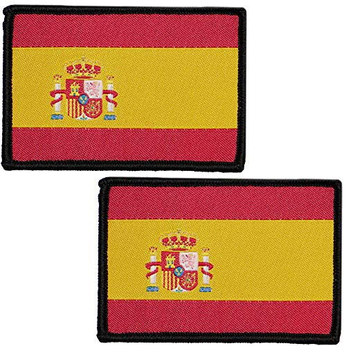 2 x Parches Bordados Bandera España con Velcro con Colores Oficiales - Escudo bordado - Parches Moteros Bordados - Parches Militares - 75 x 50 mm
