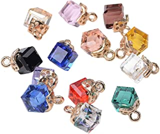 40pcs Assorted Cube Crystal Charm Pendant Gold Plated Colorful Dainty Drop Dangle for Necklace Bracelet Ankle Earring Hair Ornaments Jewelry DIY Making