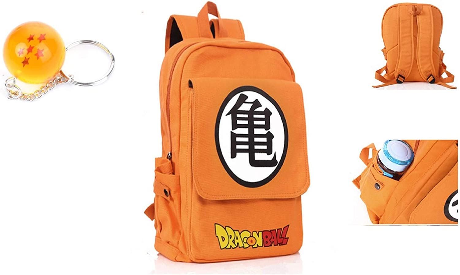 Tresbon Products Dragon Ball Z and Zelda Anime Backpacks with Free Dragon Ball Star Keychain  Boys Girls Teenagers (orange  Kame Logo)