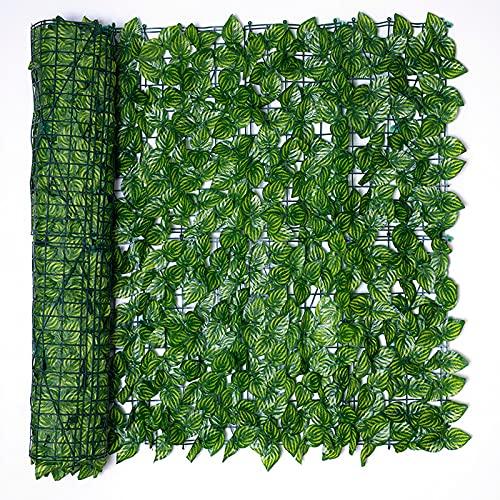 BFCDF Künstliche Hecke, Künstlicher Efeu-Sichtschutz-Bildschirm, Ivy Leaf Datenschutzzaun, Outdoor-Garten Sichtschutz mit Blättern, Wandzaunplatte, UV-beständig,1x3m
