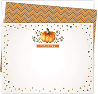 Koko Paper Co Fall Thank You Cards | 25 Flat Note Cards and Envelopes | Printed on Heavy Card Stock.