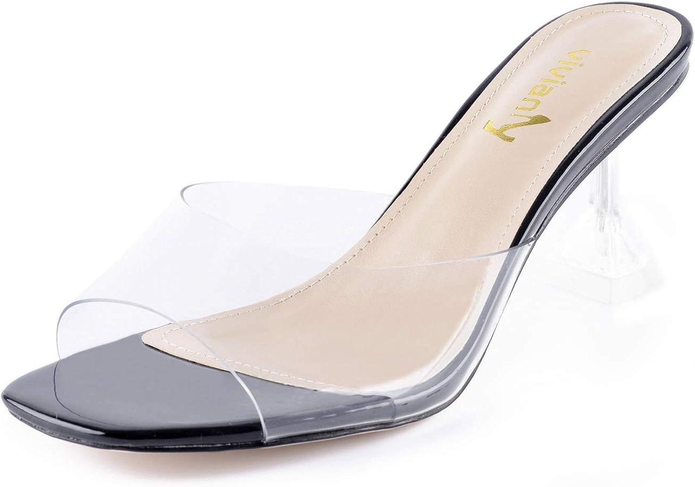 35%OFF vivianly Womens Clear Heels Sandals B 5☆好評 Toe Transparent Peep Mules