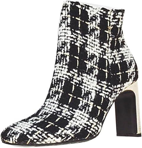QPYC Ladies Stripe Square Head botas cortas High Heels Side Zipper Martin botas , lattice , 37