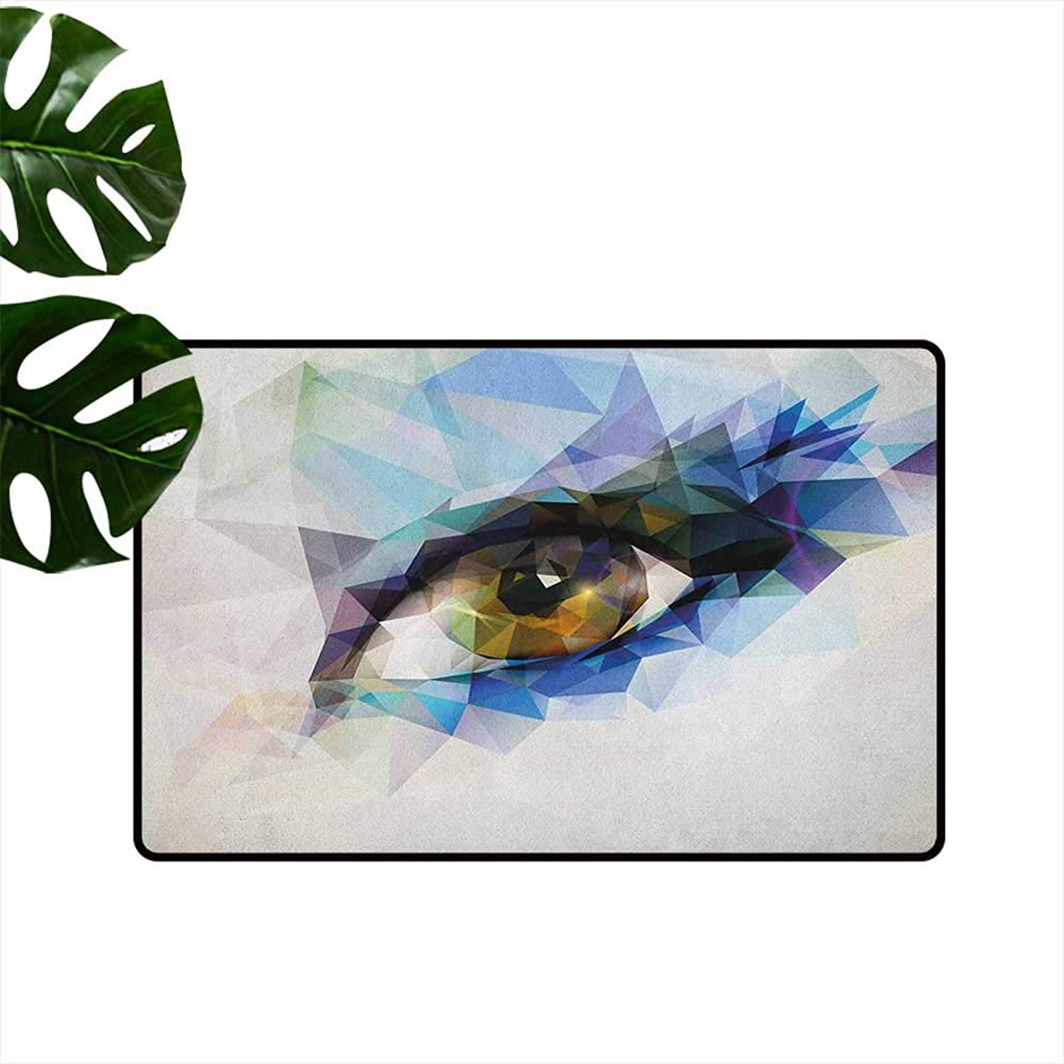 Eye Large Outdoor Indoor Rubber Doormat Womans Eye with Polygonal Triangles Effect Artistic Modern Geometric colorful Print Personality W35 x L59 Multicolor
