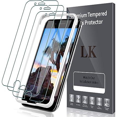 LK【3枚セット】[ガイド枠付き]iPhone SE 第2世代(2020)/ iPhone SE 2 用 iPhone8 / 7 適用強化ガラス液晶保護フィルム 4.7インチ対応「業界最高硬度9H/高透過率/飛散防止/気泡防止/3Dタッチ対応」アイフォンSE 2020 アイフォン7 ガラスフィルム