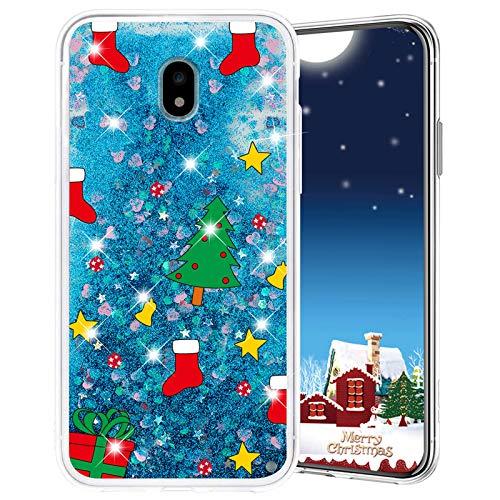 Misstars Weihnachten Handyhülle für Samsung Galaxy J7 2017 / J730, 3D Kreativ Glitzer Flüssig Transparent Weich Silikon TPU Bumper mit Weihnachtsbaum Muster Design Anti-kratzt Schutzhülle