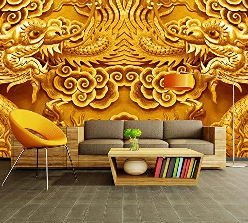 Papel Pintado Pared 3D Fotomurales Dragón Dorado En Relieve Mural Pared Pintado Papel Tapiz Salón Dormitorio Tv Fondo Decoración De Pared 350x256cm