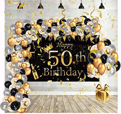Globos de Cumpleaños Decoracion Regalo Mujer Adultos Feliz para 50 años Happy Birthday Arco Hombres Originales Confeti Numeros Fiesta Adornos Darados Balloons Decoration Aniversario Kit Pack Vengalas