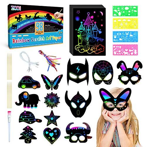 ZOOI Bastelset Kratzbilder für Kinder - 98 Basteln Kratzbuch Set Kinder Spielzeug Geschenke für Mädchen Jungen zum Zeichnen, Kratzbuch mit 6 Kratzbild Maske, 4 Schablonen, 15 Holzstiften und 1 Bürste