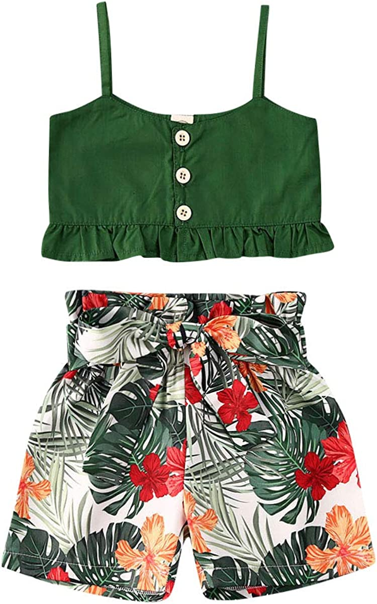 6M-6Y Toddler Baby Girls Clothes Set Green Halter Crop Tops + Floral Ruffle Short Pants/Skirts 2 Pieces Outfits Set