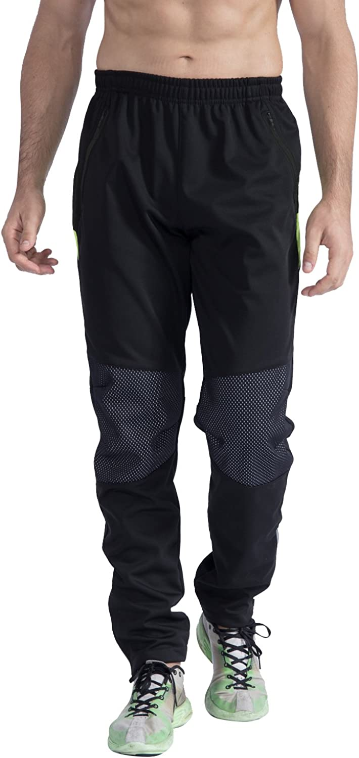 Outto Mens Winter Running Cycling Pants Windproof Fleece Thermal Outdoor Sports