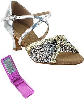 Very Fine Ballroom Latin Tango Salsa Dance Shoes for Women S92309 2-Inch Heel + Foldable Brush Bundle