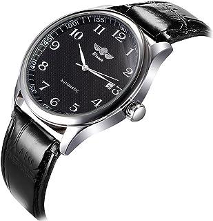 VIGOROSO Mens Watches Automatic Mechanical Black Dial Leather Strap Wrist Watch