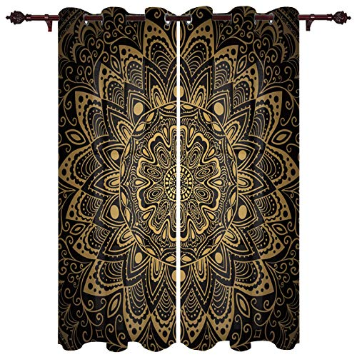 Mandala Window Treatment Set of 2 Panels, Soft Polyester Drapes, Privacy Protection Curtain for Bedroom, Living Room 40x84 inch Retro Abstract Geometric Flower Pattern