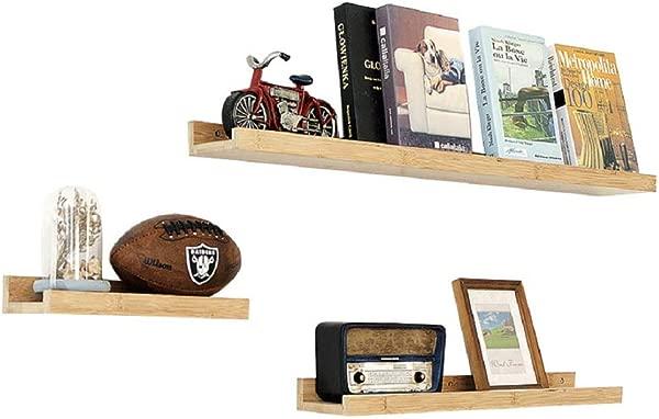 HAI Bamboo Floating Shelves Wall Mount For Bedroom Living Room Bathroom Kitchen 3pack
