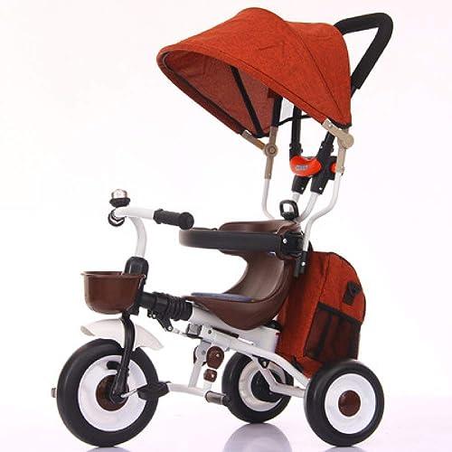 QXMEI Kinder Dreirad Ab 8 Monate Bis 5 Jahre Stabilit Dreirad Für Kinder Sonnendach Kann Zusammengeklappt Verstellbar Schubstange Kinderdreir r Einfach InsGrößetion Belastbarkeit Bis 60 Kg,Orange