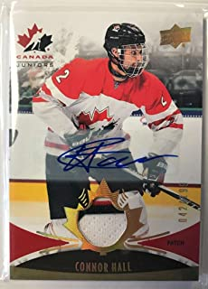 2016-17 Upper Deck Team Canada Juniors Hockey Gold Spectrum Men's Autograph Patches #132 Connor Hall MEM Auto 042/199