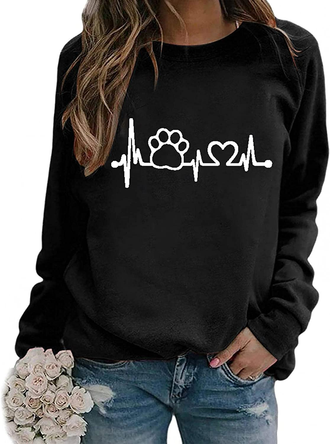 Toeava Long Sleeve Shirts for Women Casual Graphic Sweatshirts Tee Shirts Paw Heartbeat Crew Neck Pullover Tunic Tops