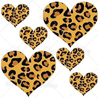 Leopard Print Hearts Reusable Wall Decals - 2 & 4 inch (20 Decals)