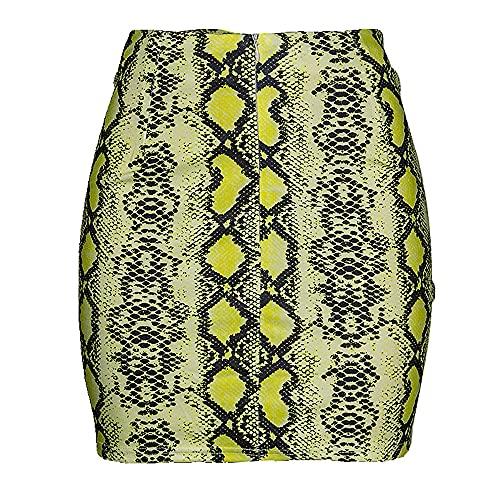 N\P Sexy Mujer Serpiente Impresión Falda Verano Cintura Alta Mini Falda Short Pencil