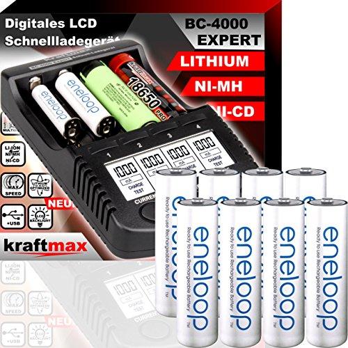 kraftmax Original BC-4000 EXPERT Ladegerät + 8 Panasonic Eneloop Mignon AA Akkus - Set mit Ladestation und Akku Batterien Premium Akkubox