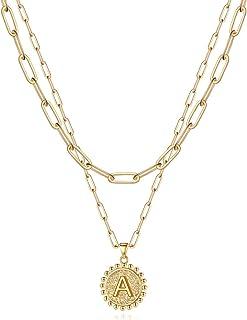 گردنبندهای ابتدایی طلای یووستل برای دختران ، گردنبندهای زنجیره ای زنجیر حلقه ای با روکش طلای 14K طلای لایه های گردنبند زنانه