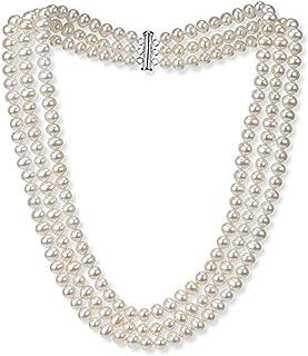 e8bc368427fa Elegant and Classic AA Grade 7mm White Freshwater Pearl Necklace  Three-Strand Style