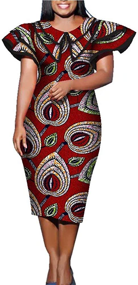 iooiooi Womens Double Layered Collar African Max 45% OFF Print In stock Midi Shift Dr