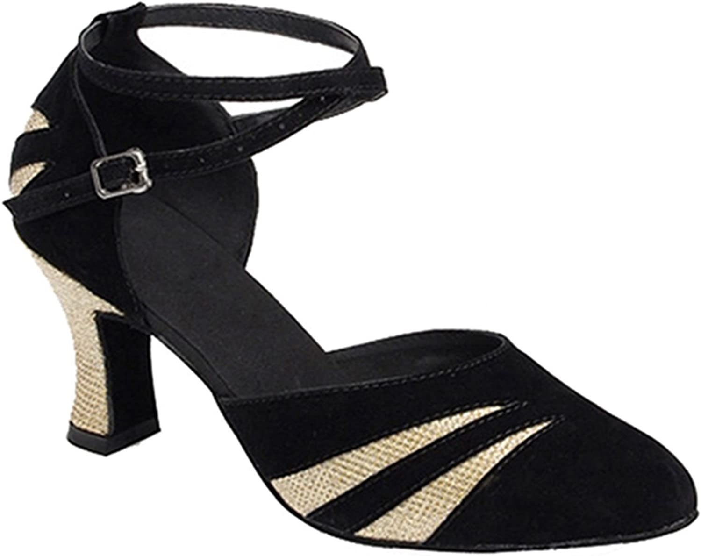 BININBOX Women Dance shoes Ballroom Latin Standard Tango with Paragraph High-Heeled
