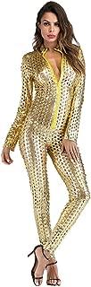 Womens Jumpsuit Catsuit Romper Metallic Bodysuit Sexy Clubwear Stripper Leather Lingerie