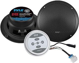 Pyle Bluetooth Marine Grade Flush Mount 2-Way Speaker System Amplified Full Range Stereo Sound Dual Cone Dome Waterproof U...