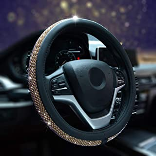 Alusbell Bling Bling Rhinestones Steering Wheel Cover for Women Diamand Crystal Steering Wheel Cover with PU Leather Universal Fit 15 Inch (Gold)