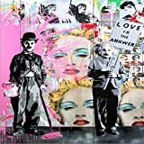 Wall Graffiti Canvas Prints Art Canvas Paintings Posters and Prints Love Life Wall Canvas Picture (No Frame) as picture shows 60X80cm