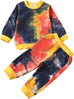 مجموعة أزياء الخريف للأطفال الصغار الرضع الرضع البنين والبنات كم طويل وبنطلون طويل ملابس أطفال (تاي داي-أصفر أسود، 1-2 T)