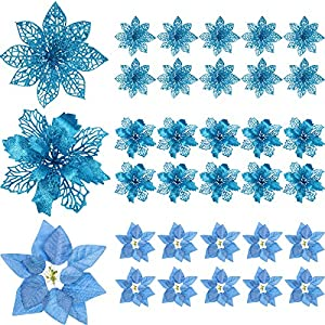 WILLBOND 30 Pieces Glitter Poinsettia Artificial Christmas Tree Ornament Christmas Flowers for Xmas Valentine's Day Spring Festival Wedding Decorations