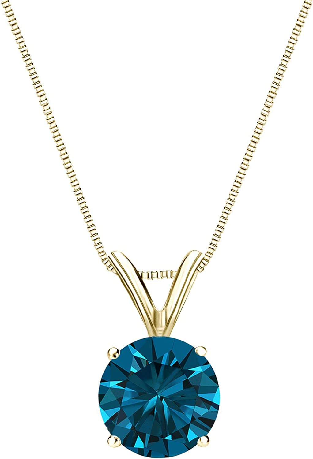 18k Yellow Sales results No. 1 Gold 4-Prong Basket Round-cut 25% OFF Solitaire Blue Diamond
