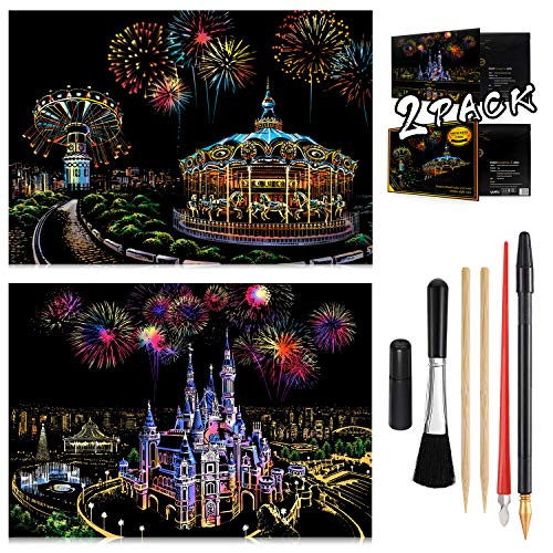 Scratch Painting Kits for Adults & Kids, Craft Art Set, Rainbow Scratch Art Painting Paper, Sketch DIY Night View Scratchboard, 16'' x 11.2'' Creative Gift with 6 Tools kit (Castle / Amusement Park)
