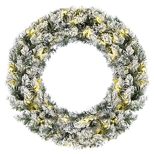 Goplus Pre-Lit Cordless Christmas Wreath, Artificial Snow Flocked Pine Wreath, Built-in 6-Hour Timer, with 50 Warm LED Lights and Silver Bristles, Christmas Decor