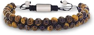 Steve Madden Stainless Steel Brown Beaded Adjustable Bracelet for Men