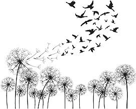 decalmile Muurstickers Zwart Paardebloemen Muurtattoos Vliegen in de windvogels Wanddecoratie Slaapkamer Huiskamer Kantoor...