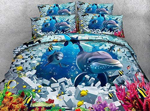 WYRRIG Duvet Cover Set King Dolphin Broken Brick Wall Ocean Landscape Bedding Set 3Pcs Reversable Quilt Cover Easy Care Anti-Allergic Soft Comfortable,220X240Cm