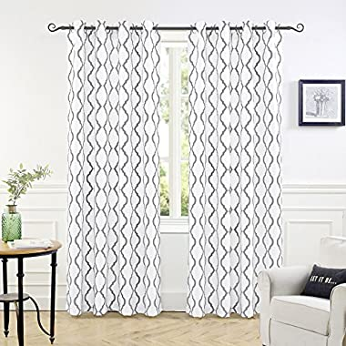 DriftAway Geovany Room Darkening/Thermal Insulated Grommet Window Curtains, Moroccan Geometric Trellis Pattern (Gray, 52 x84 )