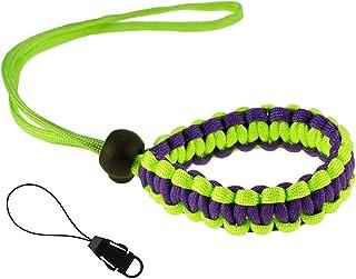 Allzedream Camera Wrist Strap Paracord Bracelet Adjustable for DSLR Binocular Cell Phone (Green Purple)
