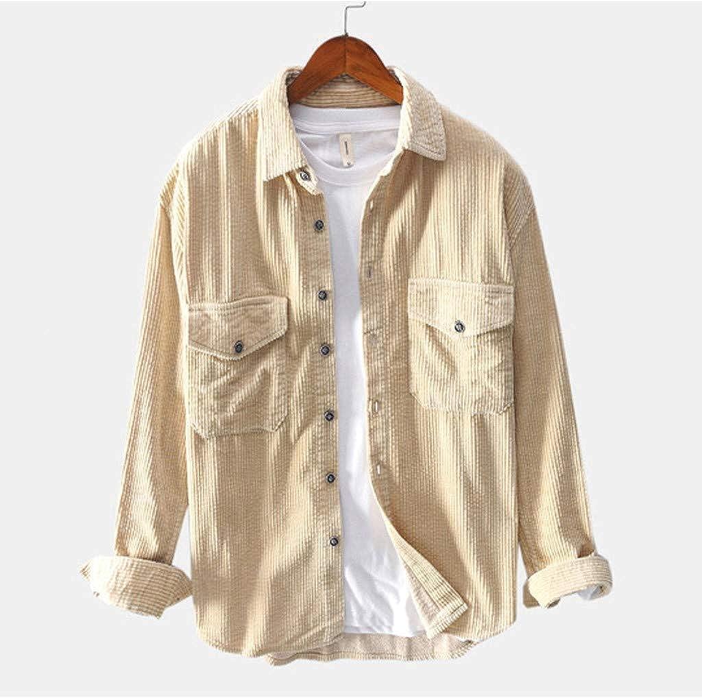 waotier Chaquetas para Hombre Camisas Casual Vintage Pana Color sólido Chaqueta de Herramientas Bolsillos en el Pecho Camisas Casuales de Manga Larga