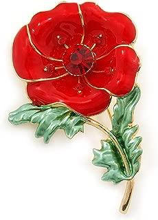 Avalaya Red/Green Enamel Poppy Brooch in Gold Plating - 53mm L
